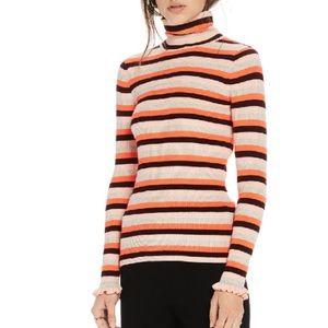 Scotch & Soda Striped Rib-Knit Turtleneck Top